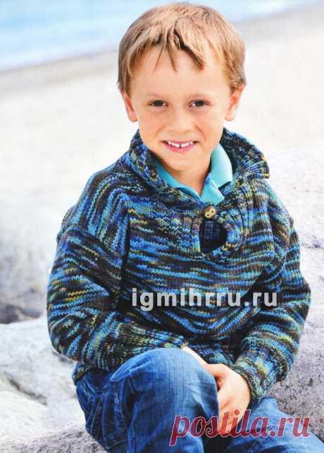 Для мальчика 3-9 лет. Коричнево-бирюзовый меланжевый пуловер с застежкой. Вязание спицами для детей