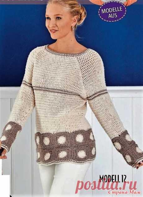 Пуловер с рукавами реглан. - Все в ажуре... (вязание крючком) - Страна Мам