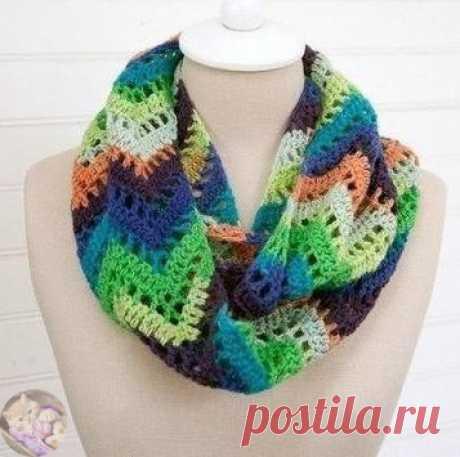 Узоры для шарфа или снуда крючком и спицами  Многоцветный узор крючком   Узор для шарфа спицами