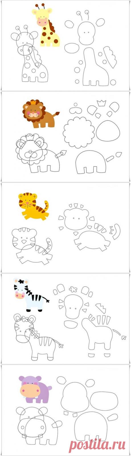 животные из фетра. выкройки — Сделай сам, идеи для творчества - DIY Ideas