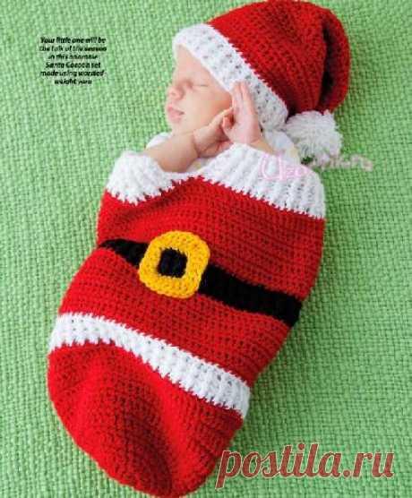 Вязаный кокон для малыша крючком (англ) - Описание вязания, схемы вязания крючком и спицами   Узорчик.ру