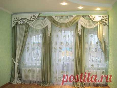 Las cortinas con el lambrequín en iterere las cocinas, la sala, la sala, el dormitorio, la foto