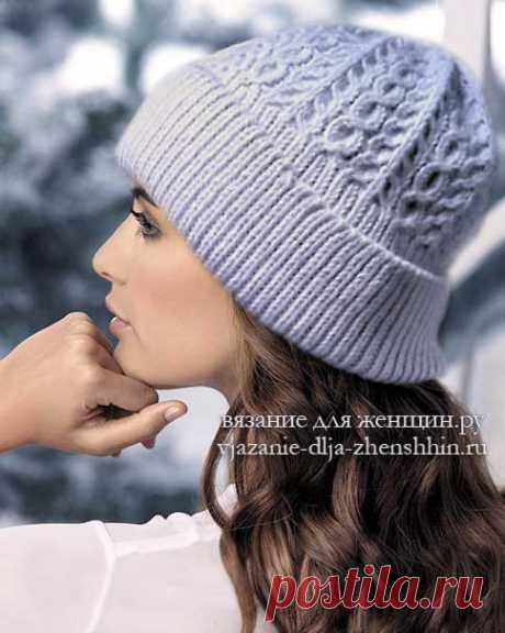 Шапка с отворотом спицами (10 моделей) шапки спицами зимние
