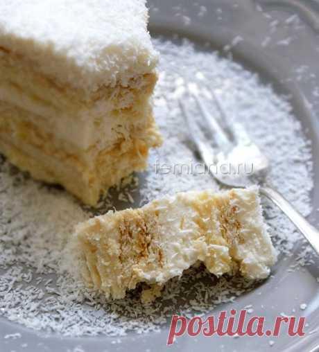 Кокосово-ананасовый торт из печенья без выпечки - очень вкусно и просто   FEMIANA
