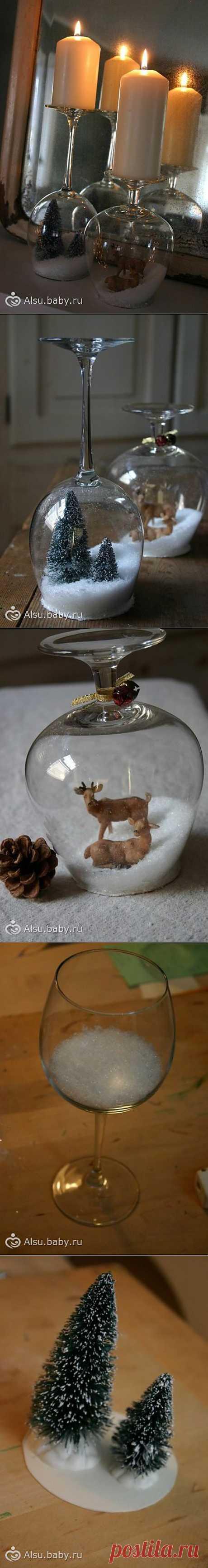 Делаем сказочно-новогодний подсвечник из бокала
