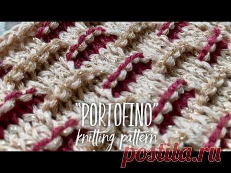 "УЗОР СПИЦАМИ ""PORTOFINO"" в 2 и 3 ЦВЕТА 💥 / 3 COLOR KNITTING PATTERN"