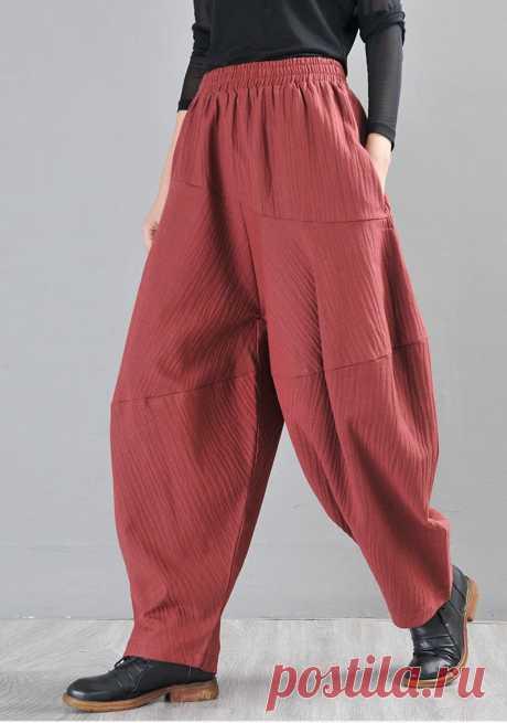 Brick Red Harem Pants-Women's Yoga Pants-High Waist Linen | Etsy