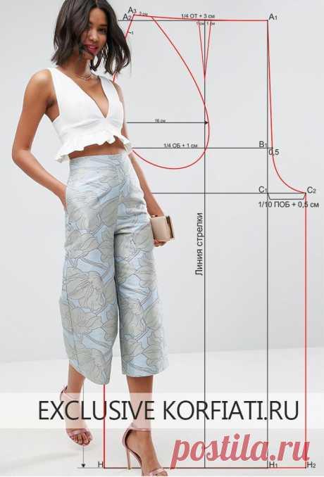 Простая выкройка брюк-кюлоты⠀ ⠀ https://korfiati.ru/2017/06/vyikroyka-bryuk-kyulotyi/ ⠀ Одна из новинок современной моды, которая сегодня находится на пике популярности — это широкие укороченные брюки-кюлоты. Название пришло в моду не так давно, однако, эти брюки, которые были популярны в 70-е годы, обрели второе прочтение. Благодаря творческим идеям дизайнеров на подиумах представлены кюлоты самых разнообразных фасонов – расклешенные, с завышенной талией, с запахом, с выт...