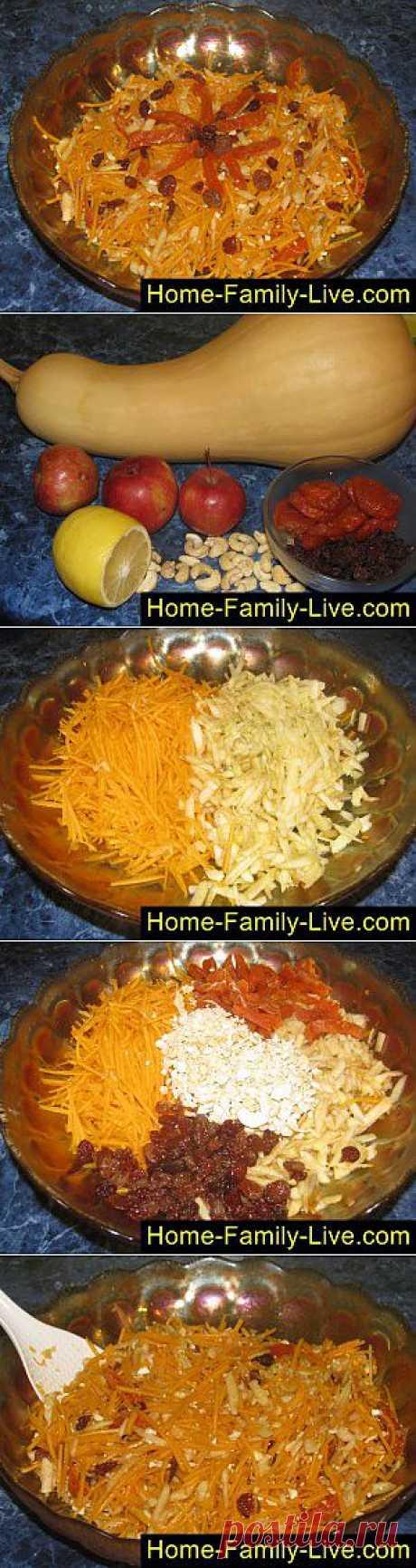 Кулинарные рецепты Салат из тыквы с изюмом - пошаговый фоторецепт - витамины через край
