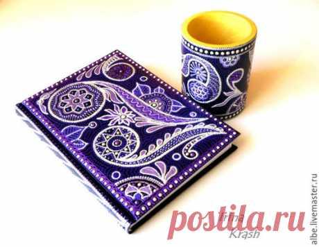Фиолетовый ежедневник и фиолетовая карандашница точечная роспись - фиолетовый, сиреневый, карандашница с росписью, точечная роспись