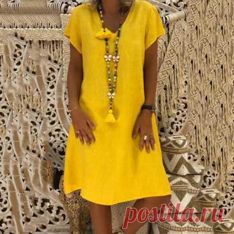 Boho V-neck Loose Short Sleeve Mini Dresses – sheinlook