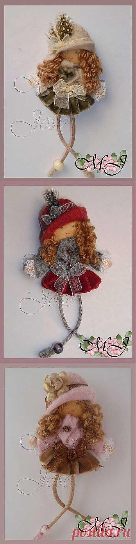 Маленькие фетровые куколки-брошки от Марии Хосе для вдохновения