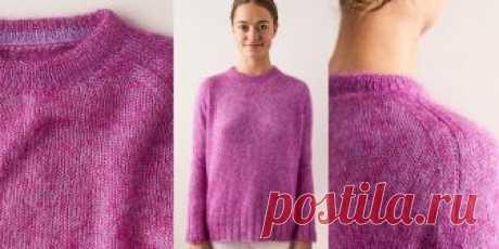 Пуловер реглан из мохера Hummingbird  Женский пуловер с формированием регланом в бесшовной технике, вязаный спицами из мохера роскошного цвета, способен разбавить мрачные цвета зимы, с описанием для 6 женских размеров.