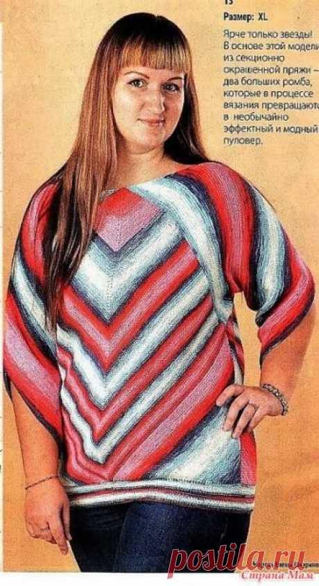 Ярче только звезды. Пуловер в основе которого ромбы. Спицы. Этапы вязания. Вязаная одежда для солидных дам №3 2018