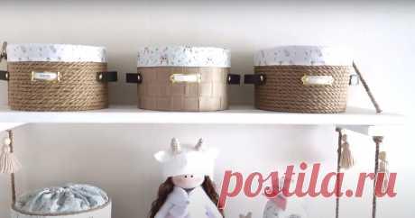 Красивая и стильная корзинка из подручных материалов ...
