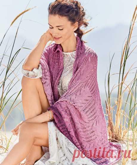 Ажурная шаль в розово-лиловых тонах - схема вязания спицами. Вяжем Шали на Verena.ru