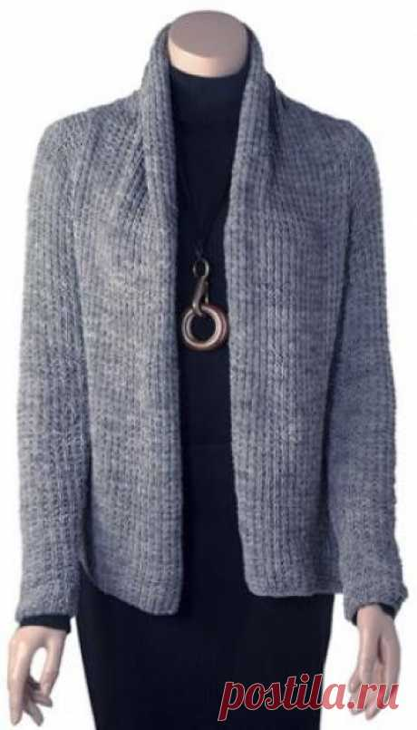 Cardigan spokes in classical style the Stylish cardigan spokes for women executed from a nylon yarn of tape type. Knitting of a cardigan is carried out by a simple relief pattern...
