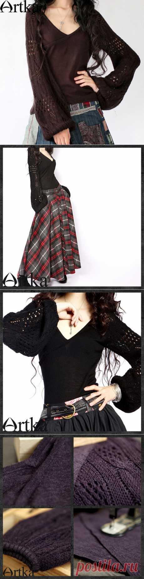 Пуловер с ажурными рукавами-фонариками, 12729015865 купить за 6300 руб. с доставкой по России, Украине, Беларуси и миру | Пуловеры | Artka: интернет-магазин обуви и одежды Artka