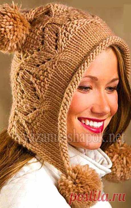 Оригинальная зимняя шапка с помпоном спицами  