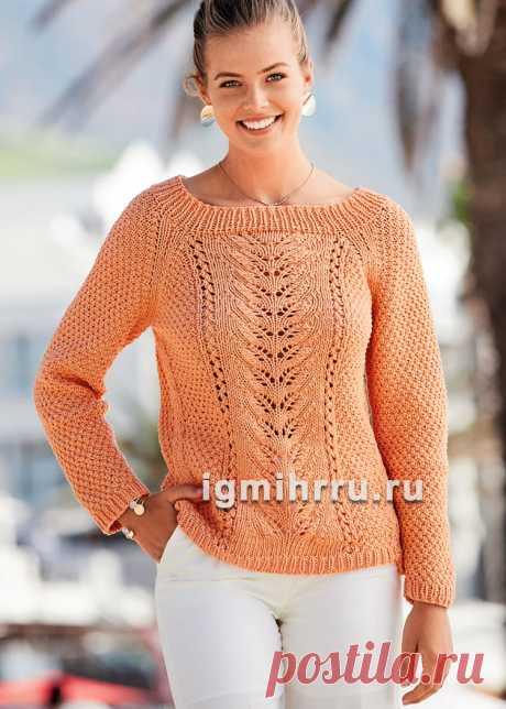 Асимметричный пуловер с ажурными структурами. Вязание спицами со схемами и описанием