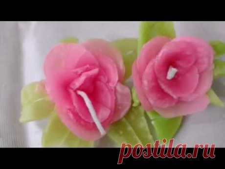 Make Rose Candle With Wax And Without Mold
