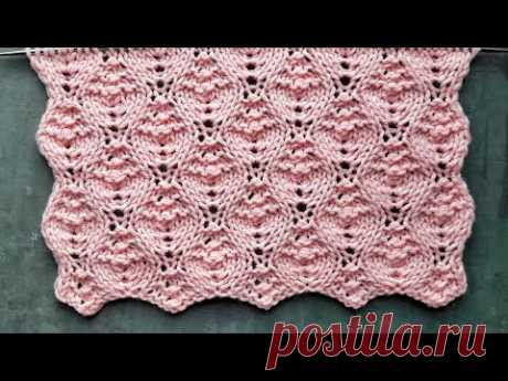 Нежный рельефный узор спицами для красивых вязаных свитеров, платьев, носков
