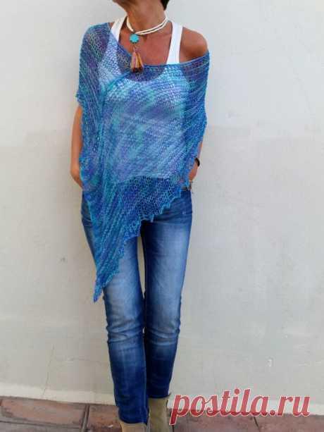 Синий вязаный пончо для женщин хлопок и трикотаж из бамбука на лето, верхняя одежда … – Женская мода