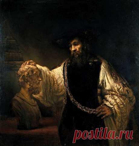 Аристотель перед бюстом Гомера - Рембрандт Харменс Ван Рейн. 1653. Холст, масло. 143,5x136,5. Выставлена в музее: Метрополитен музей.    Рембрандт (1606-1669), несмотря на то, что жил в Голландии, не совсем вписывался в традицию ее искусства и вообще выходил за всякие рамки. Он создал произведение «Аристотель перед бюстом Гомера» в тот период жизни, когда оказался непризнан на родине, но стал любим за ее пределами. Сицилийский богач и меценат