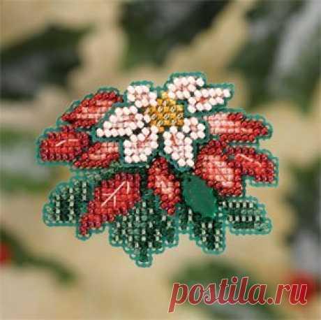 Mill Hill Pink Pointsettia - Beaded Cross Stitch Kit - 123Stitch.com