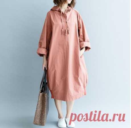 Navy Oversize dress Loose Hooded dress Skin pink maxi dress | Etsy