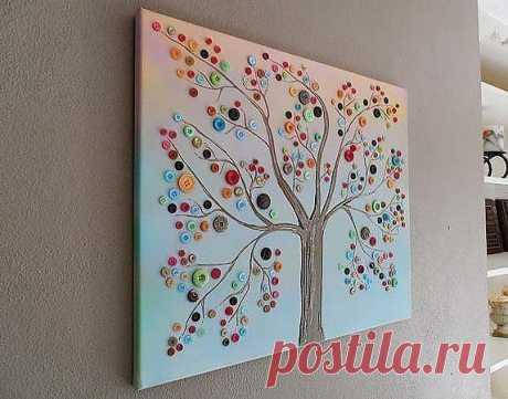 Мастер класс. Картина дерева сделанная с пуговиц | Декор дома и участка