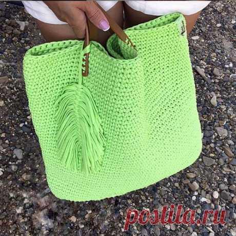 Как связать летнюю сумку-шоппер крючком