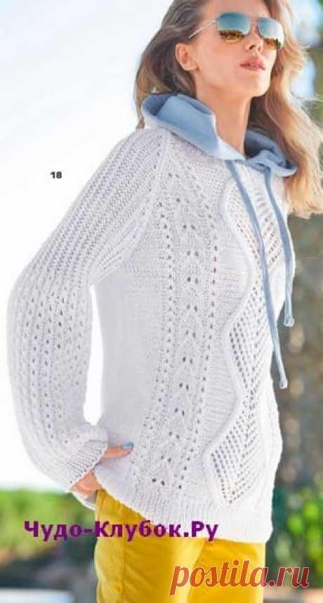 Белый пуловер с рукавами буф вязаный спицами 1900 | ✺❁сайт ЧУДО-клубок ❣ ❂✺Белый пуловер с рукавами буф вязаный спицами 1900, описание и схемы к нему: ❂ ►►➤6 000 ✿моделей вязания ❣❣❣ 70 000 узоров►►Заходите❣❣ %