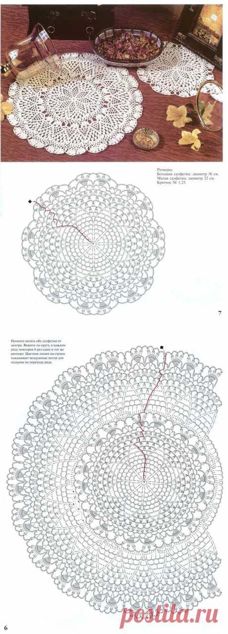 Круглые салфетки крючком