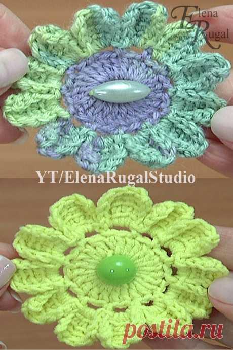 Тунисское вязание. Простой и нежный цветочек