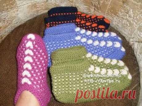 Тапочки спицами с описанием., Вязание для женщин