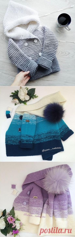 Вязаное пальтишко для малышей до 1 года