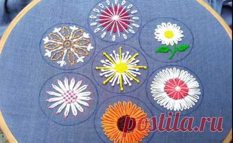 Вышивка цветы схемы для начинающих: идеи с 110 + фото Идеи вышивка цветы схемы и мастер-классы для начинающих: мастер-классы с 110 фото, вы научитесь вышивать цветы, познакомитесь с видами швов