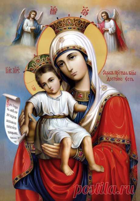 """Икона Божией Матери """"Достойно есть""""  Приснодева превыше всех святых человеков, как по той причине, что соделалась Матерью Богочеловека, так и по той причине, что Она была самою постоянною, самою внимательною слышательницею и исполнительницею учения, возвещенного Богочеловеком. Святитель Игнатий Брянчанинов  Досто́йно есть я́ко вои́стину блажи́ти Тя, Богоро́дицу, Присноблаже́нную и Пренепоро́чную и Ма́терь Бо́га на́шего. Честне́йшую херуви́м и сла́внейшую без сравне́ния сер..."""