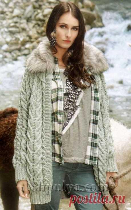 Вязаная куртка с меховым воротником — Shpulya.com - схемы с описанием для вязания спицами и крючком