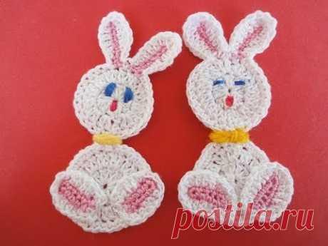 "Аппликация ""ЗАЯЦ""  Application RABBIT Crochet"