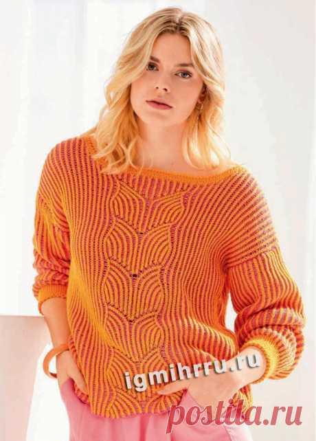 Яркий пуловер с двухцветным патентным узором. Вязание спицами со схемами и описанием