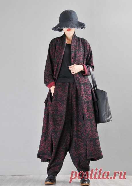 Red Jacquard Cotton Cardigan-Ladies Tops-Retro Cute Cotton | Etsy