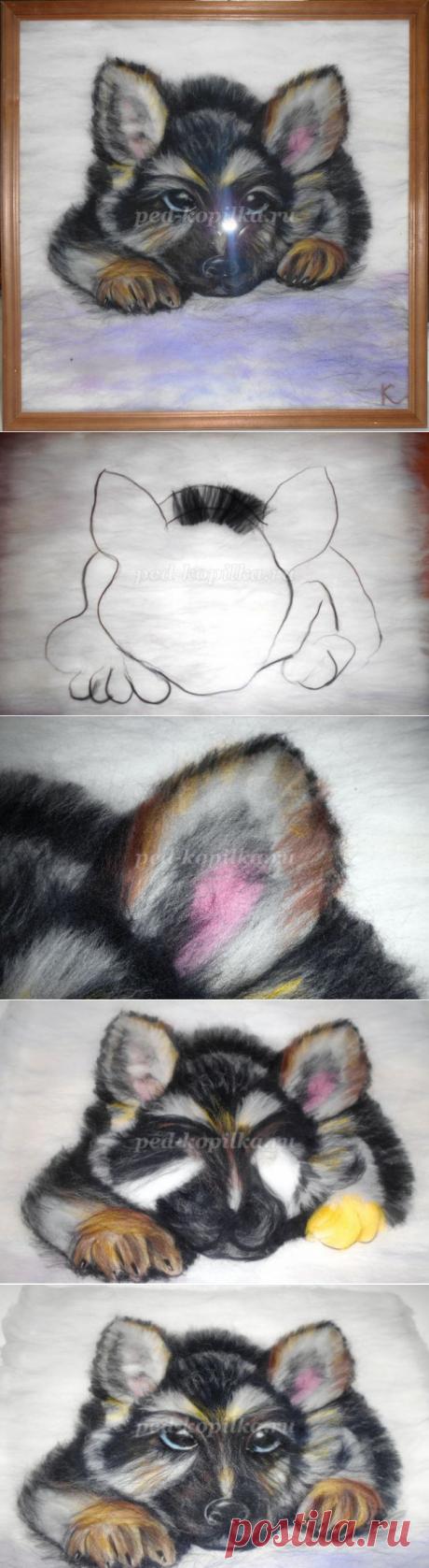 """Картина """"Щенок"""" в технике """"шерстяная живопись"""". Мастер-класс с пошаговым фото"""