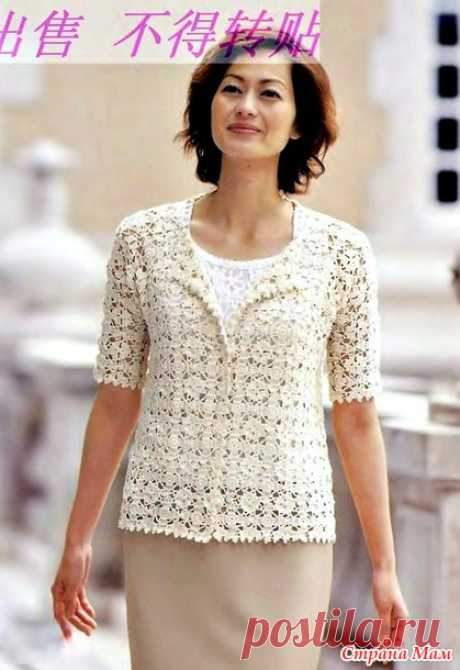 Openwork jacket from motives continuous knitting. Hook. - KNITTED FASHION + FOR NOT MODEL LADIES - the Country of Mothers