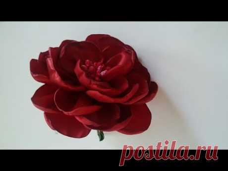 El maestro la clase: la rosa pomposa de las cintas\/How to make a rose out of satin ribbons\/handmade fabric flowers