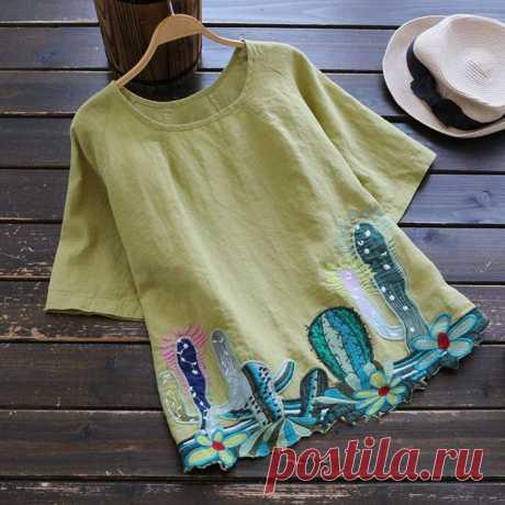 Вышитые кактусы Модная одежда и дизайн интерьера своими руками