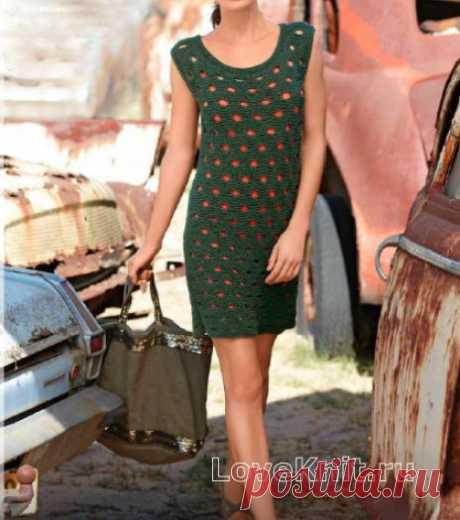 Фактурное платье с крупными отверстиями схема спицами