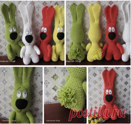 Забавные вязаные зайцы с описанием вязания.