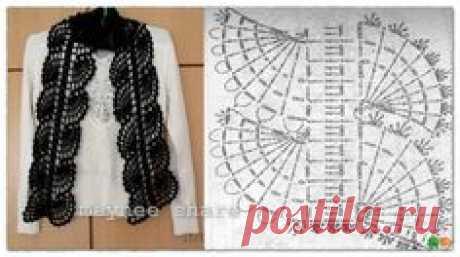 Красивый ажурный шарф связанный крючком. Схема